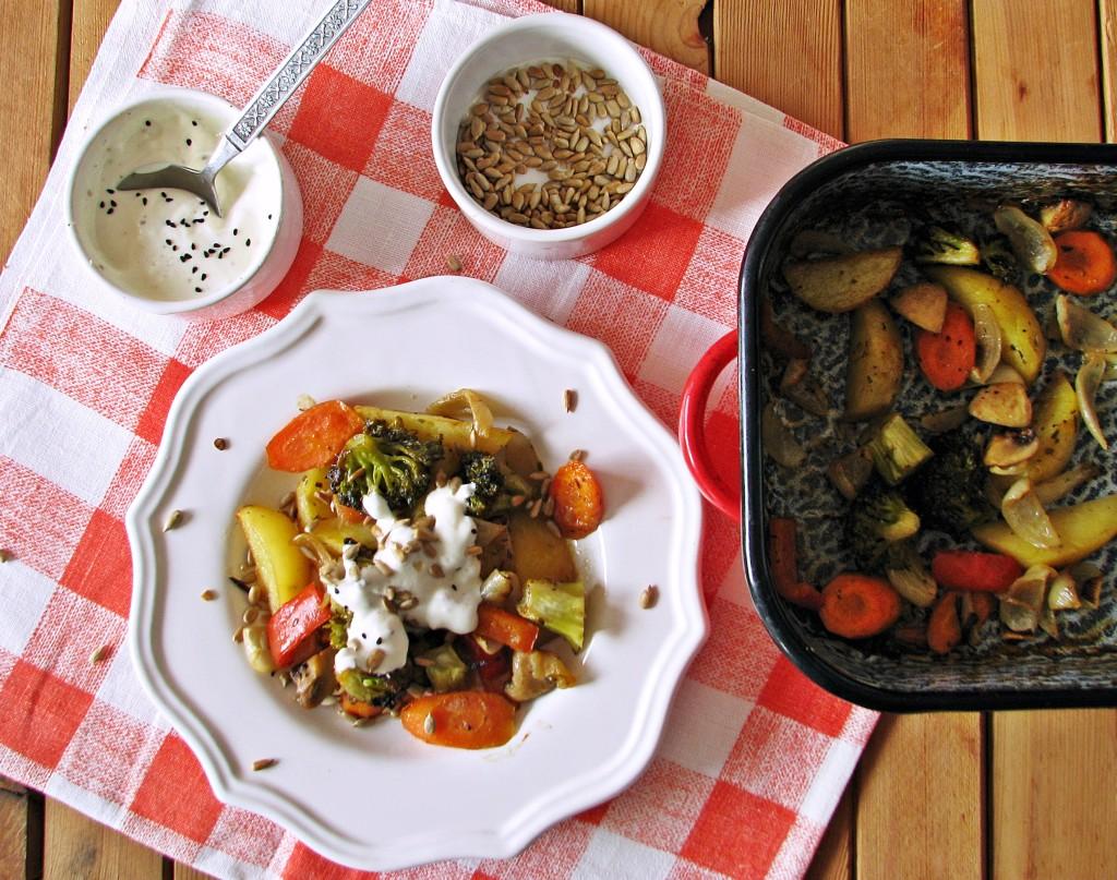 Warzywa pieczone w miodowym dressingu